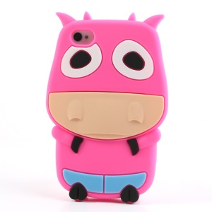 Rose Lovely 3D Cow Soft Silicone Cover for iPhone 4 4S