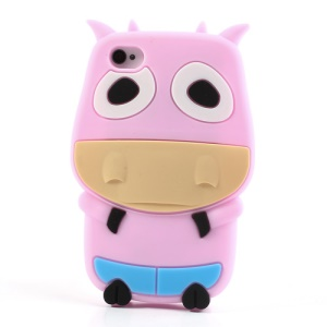 Pink Lovely 3D Cow Soft Silicone Case for iPhone 4 4S