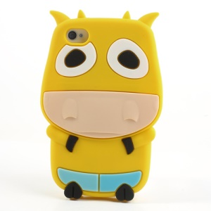 Yellow Lovely 3D Cow Soft Silicone Case for iPhone 4 4S