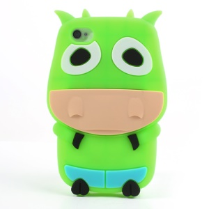 Green Lovely 3D Cow Protective Silicone Case for iPhone 4 4S