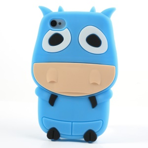 Blue Lovely 3D Cow Protective Silicone Shell for iPhone 4 4S