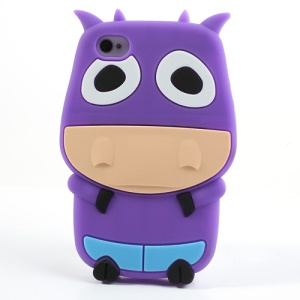 Purple Lovely 3D Cow Protective Silicone Shell for iPhone 4 4S