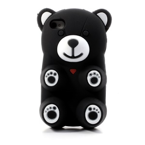 Black 3D Bear Shaped Silicone Case for iPhone 4 4S