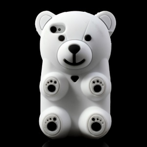 White 3D Bear Shaped Silicone Cover for iPhone 4 4S