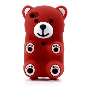 Red 3D Bear Shaped Silicone Cover for iPhone 4 4S