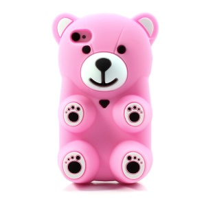 Pink 3D Bear Shaped Silicone Cover for iPhone 4 4S