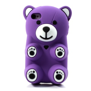 Purple 3D Bear Shaped Silicone Shell for iPhone 4 4S