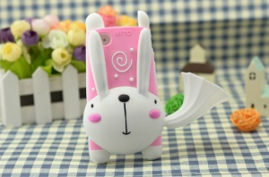 For iPhone 4 4S 3D Cute Running Rabbit Silicone Case w/ Horn Speaker & Stand - Pink / White