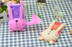 For iPhone 4 4S 3D Cute Rabbit Silicone Cover w/ Horn Speaker & Stand - Purple / Pink