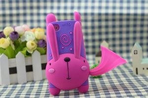 For iPhone 4 4S 3D Cute Rabbit Silicone Cover w/ Horn Speaker & Stand - Purple / Rose