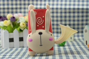 For iPhone 4 4S 3D Cute Rabbit Silicone Cover w/ Horn Speaker & Stand - Red / Beige