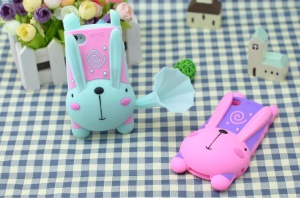 3D Cute Rabbit for iPhone 4 4S Silicone Cover w/ Horn Speaker & Stand - Pink / Cyan