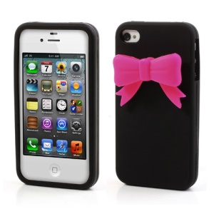 Elegant Bowknot Silicone Case for iPhone 4 4S - Black
