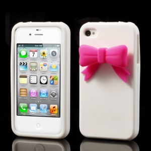 Elegant Bowknot Silicone Case for iPhone 4 4S - White