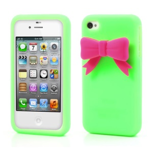 Elegant Bowknot Silicone Cover for iPhone 4 4S - Green