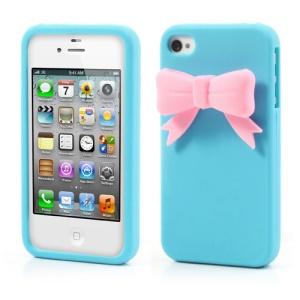 Elegant Bowknot Silicone Cover for iPhone 4 4S - Blue