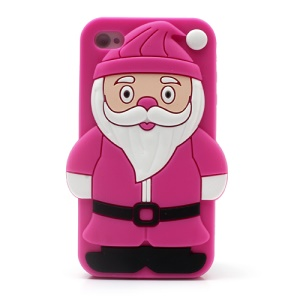 3D Santa Claus Soft Silicone Case for iPhone 4 4S - Rose