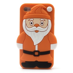 3D Santa Claus Silicone Back Case for iPhone 4 4S - Orange