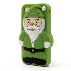 Cartoon Santa Claus for iPhone 4 4S Silicone Protective Cover - Green