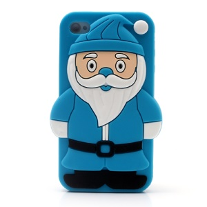 3D Santa Claus for iPhone 4 4S Silicone Protective Case - Blue