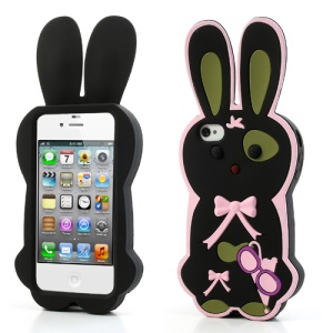 Black Cute Bowknot 3D Rabbit Silicone Case for iPhone 4 4S