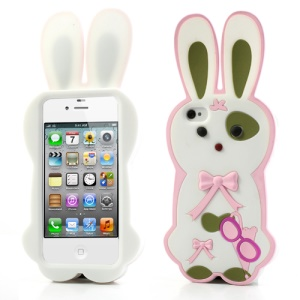 White Cute Bowknot 3D Rabbit Silicone Cover for iPhone 4 4S