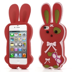 Red Cute Bowknot 3D Rabbit Silicone Cover for iPhone 4 4S