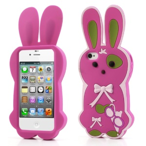 Rose Cute Bowknot 3D Rabbit Silicone Shell for iPhone 4 4S