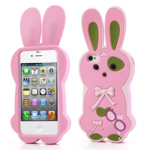 Pink for iPhone 4 4S Cute Bowknot 3D Rabbit Soft Silicone Case