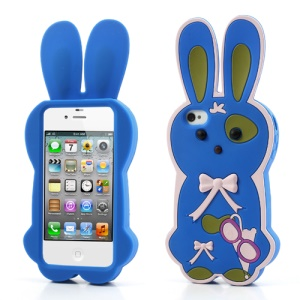 Dark Blue for iPhone 4 4S Lovely 3D Bowknot Rabbit Soft Silicone Case