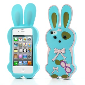 Baby Blue for iPhone 4 4S Lovely 3D Bowknot Rabbit Silicone Case