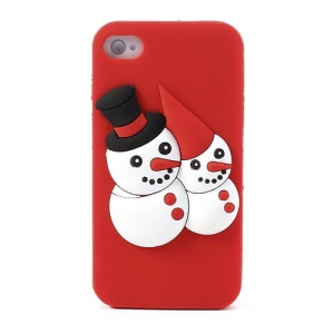 Two Snowmen Silicone Case for iPhone 4 4s - Red