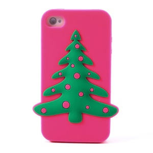 Christmas Tree Silicone Cover for iPhone 4 4s - Rose