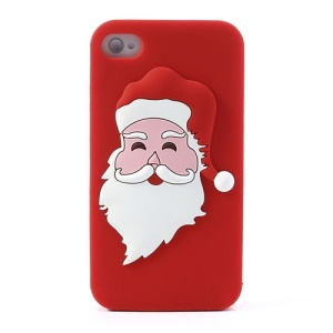 Santa Claus Soft Silicone Case for iPhone 4 4s - Red