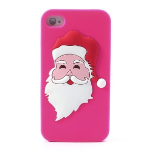 Santa Claus Soft Silicone Protective Case for iPhone 4 4s - Rose