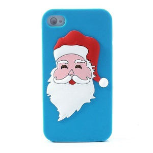 Santa Claus Flexible Silicone Cover for iPhone 4 4s - Blue