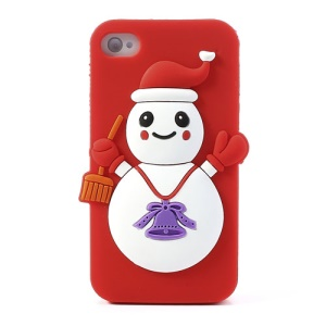 Christmas Snowman Silicone Case Accessory for iPhone 4 4s - Red