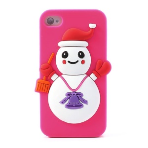 Christmas Snowman Silicone Protective Cover for iPhone 4 4s - Rose