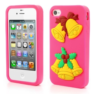 Christmas Bells Soft Silicone Case Accessory for iPhone 4 4s - Rose