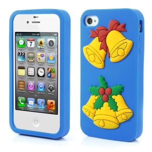 Christmas Bells Soft Silicone Skin Cover for iPhone 4 4s - Blue