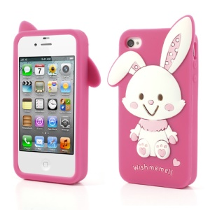 Adorable Rabbit Soft Silicone Gel Case for iPhone 4 4s - Rose