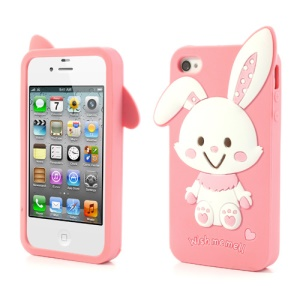 Adorable Rabbit Soft Silicone Protective Cover for iPhone 4 4s - Pink