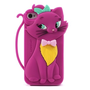 Cute Bow Tie Lovecat Silicone Case for iPhone 4s 4 - Rose