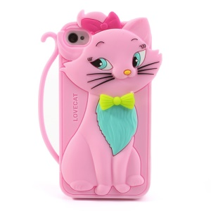 Cute Bow Tie Lovecat Silicone Case for iPhone 4s 4 - Pink