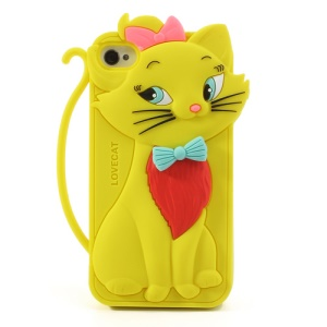 Cute Bow Tie Lovecat Silicone Case for iPhone 4s 4 - Yellow