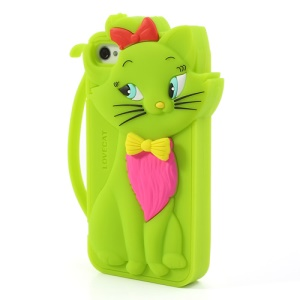 Cute Bow Tie Lovecat Silicone Shell Case for iPhone 4s 4 - Green