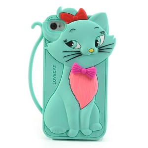 Cute Bow Tie Lovecat Silicone Shell Case for iPhone 4s 4 - Cyan