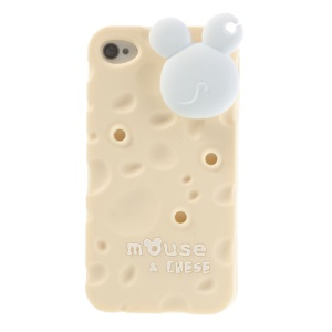 PIZU Smell Cheese Soft Silicone Case w/ Mouse Cord Winder for iPhone 4s 4 - Beige
