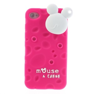 PIZU Smell Cheese Soft Silicone Case w/ Mouse Cord Winder for iPhone 4s 4 - Rose
