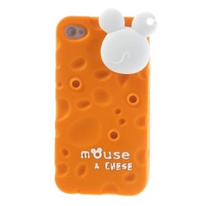 PIZU Smell Cheese Soft Silicone Case w/ Mouse Cord Winder for iPhone 4s 4 - Orange